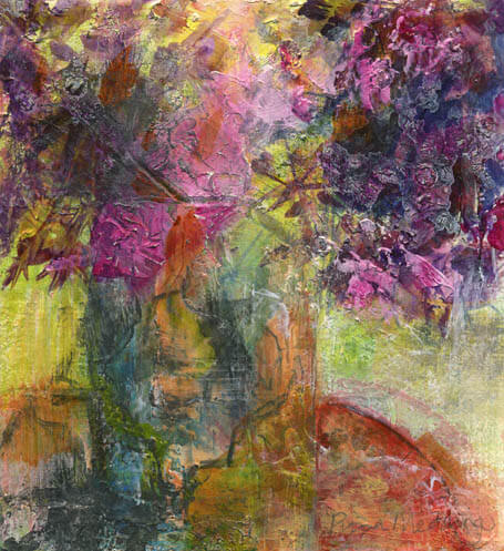 2 Alliums, mixed media acrylic painting, by Pippa Meddings
