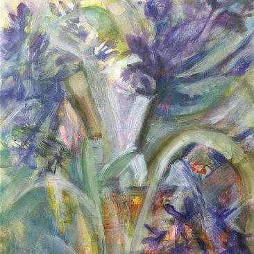 Hyacinths in an Amber Glass Jug